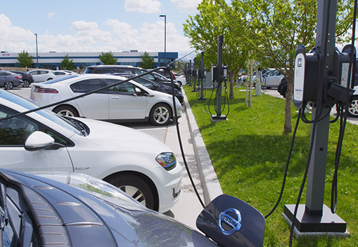 Photo of parking lot with electric charging stations